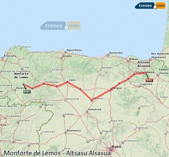 Ampliar mapa Trenes Monforte de Lemos Altsasu Alsasua