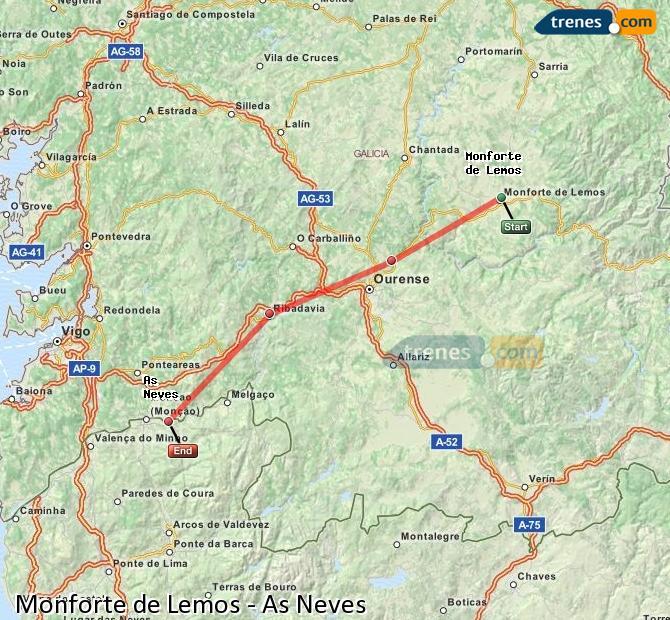 Ampliar mapa Trenes Monforte de Lemos As Neves