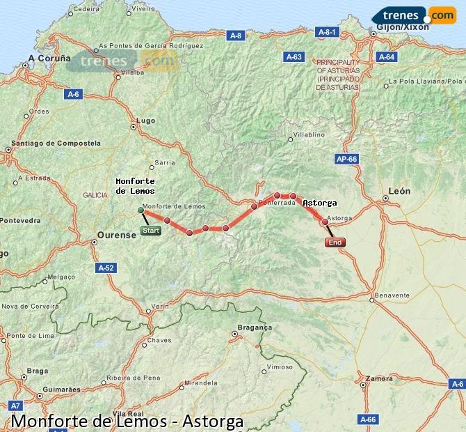 Ampliar mapa Trenes Monforte de Lemos Astorga