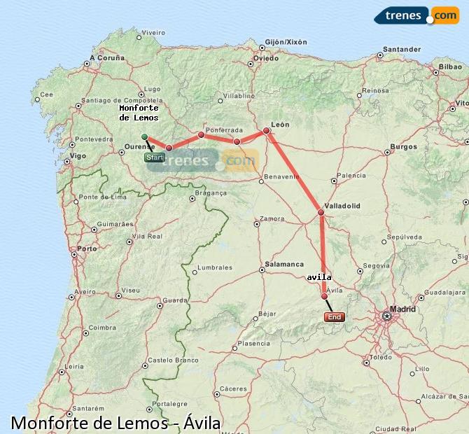 Ampliar mapa Trenes Monforte de Lemos Ávila