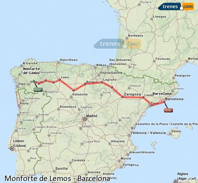 Enlarge map Trains Monforte de Lemos to Barcelona