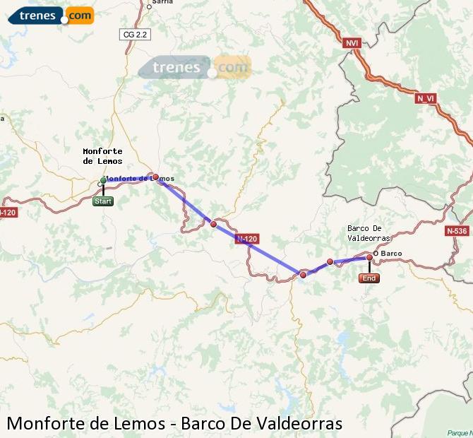 Ampliar mapa Trenes Monforte de Lemos Barco De Valdeorras