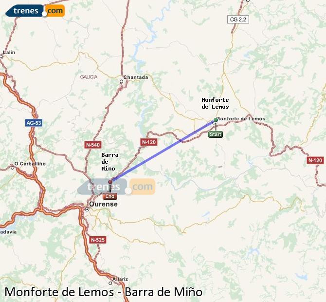 Agrandir la carte Trains Monforte de Lemos Barra de Miño