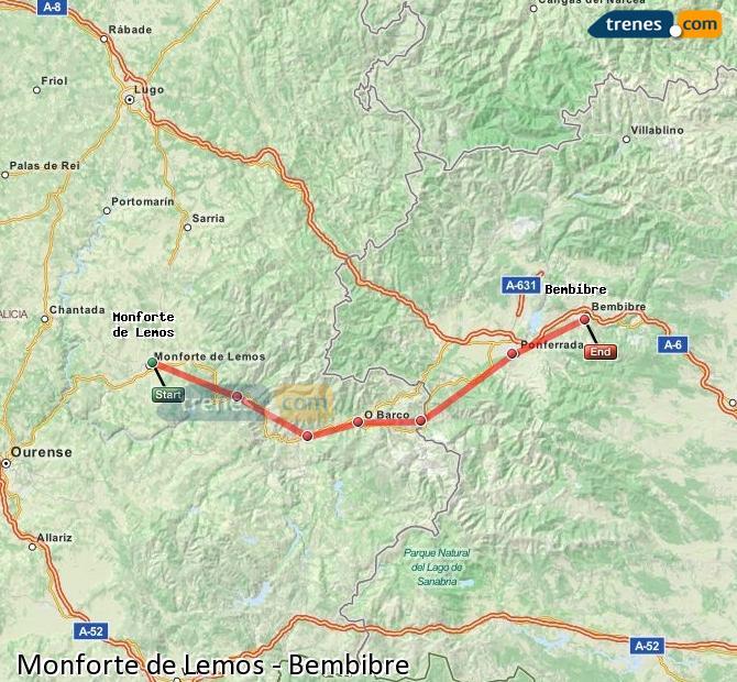 Ampliar mapa Trenes Monforte de Lemos Bembibre