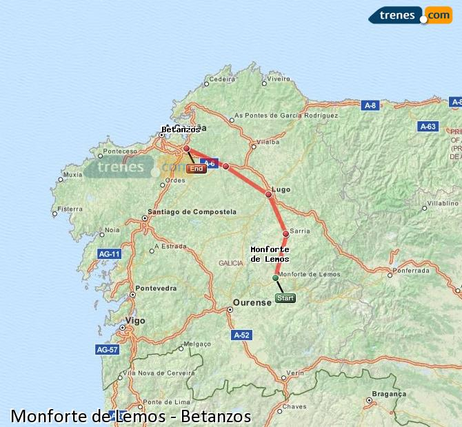 Ampliar mapa Trenes Monforte de Lemos Betanzos