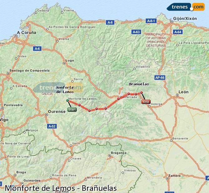 Ampliar mapa Trenes Monforte de Lemos Brañuelas