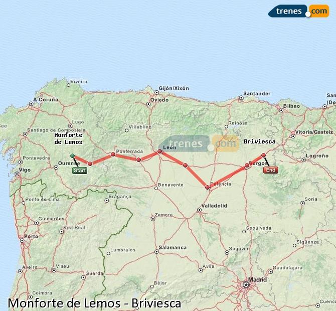 Ingrandisci la mappa Treni Monforte de Lemos Briviesca