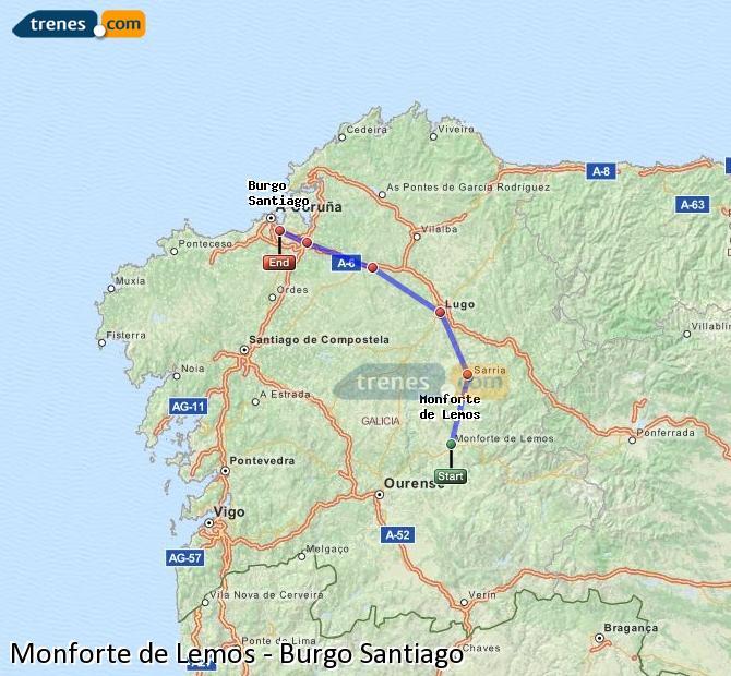 Ampliar mapa Trenes Monforte de Lemos Burgo Santiago