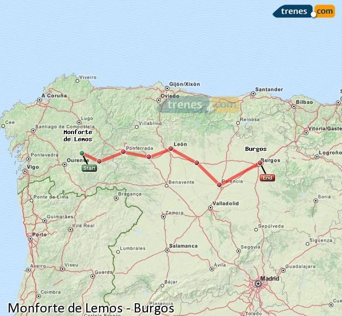 Ampliar mapa Trenes Monforte de Lemos Burgos