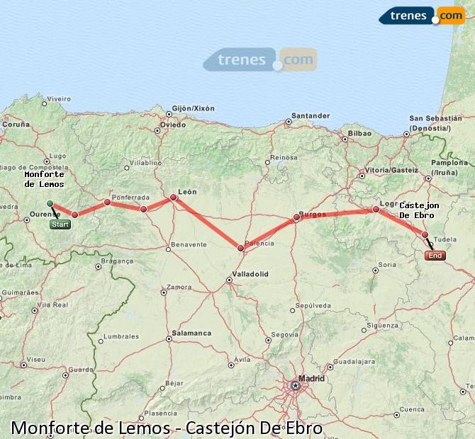 Ampliar mapa Trenes Monforte de Lemos Castejón De Ebro