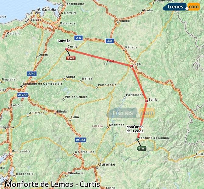 Ampliar mapa Trenes Monforte de Lemos Curtis