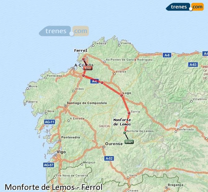 Ampliar mapa Trenes Monforte de Lemos Ferrol