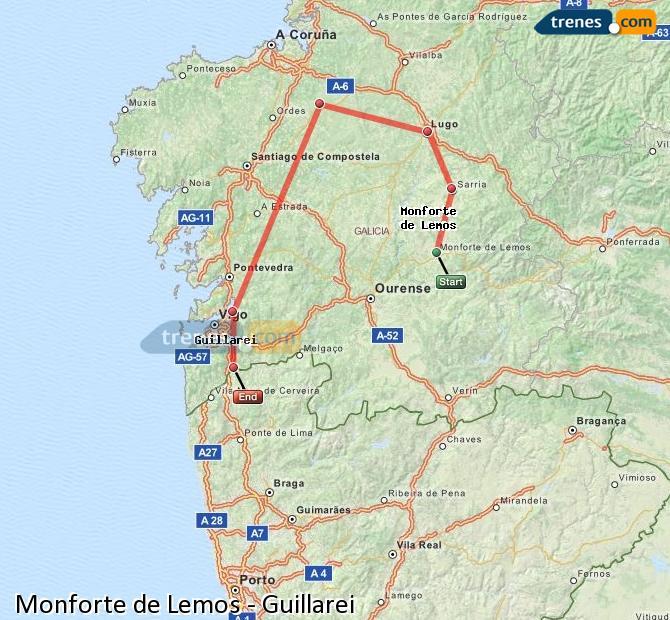 Ingrandisci la mappa Treni Monforte de Lemos Guillarei