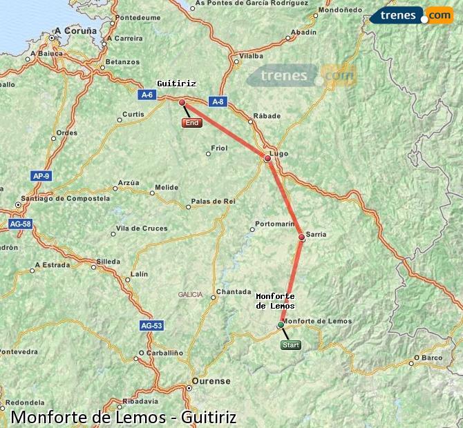 Enlarge map Trains Monforte de Lemos to Guitiriz