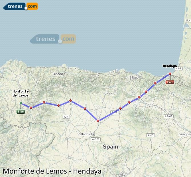 Ampliar mapa Trenes Monforte de Lemos Hendaya