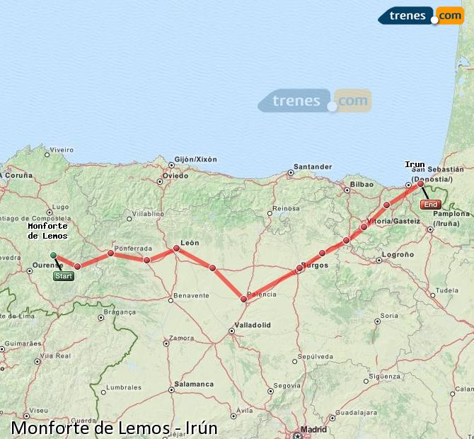 Enlarge map Trains Monforte de Lemos to Irun