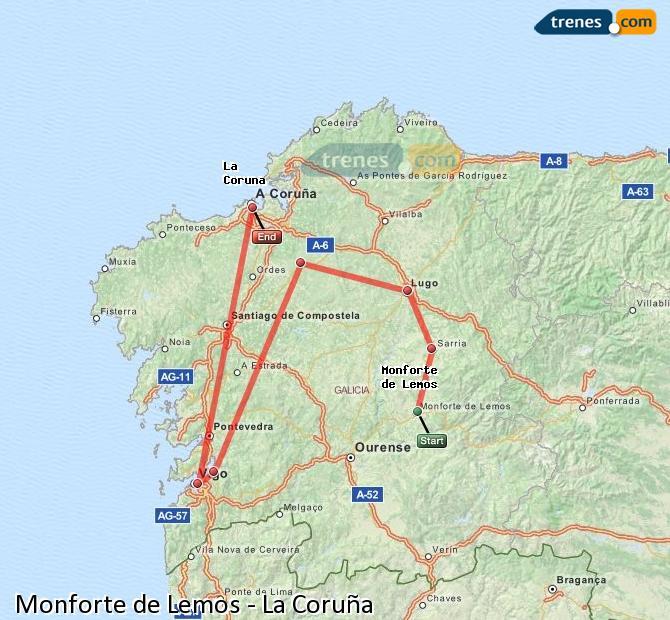 Enlarge map Trains Monforte de Lemos to La Coruña