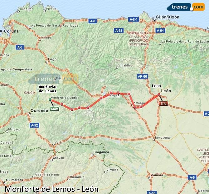 Ampliar mapa Trenes Monforte de Lemos León