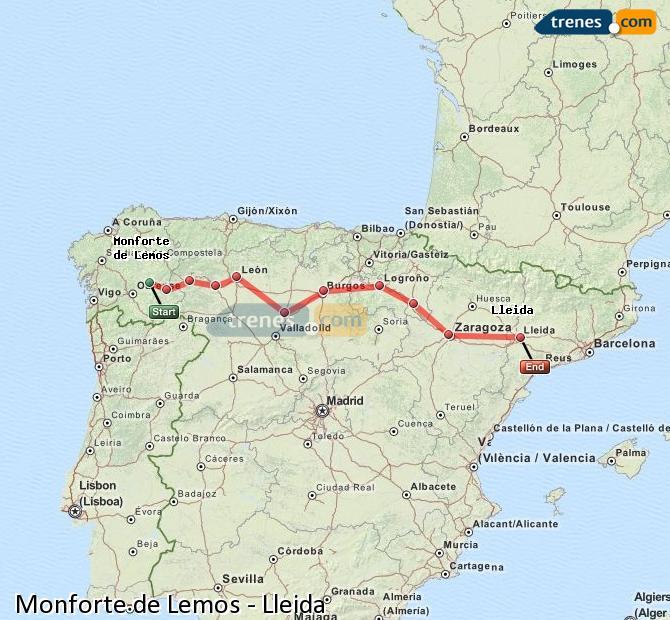 Ampliar mapa Trenes Monforte de Lemos Lleida