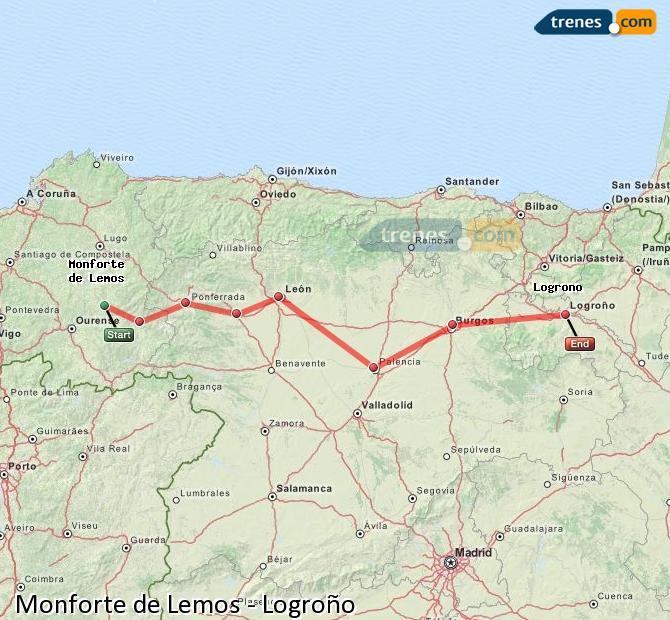 Ampliar mapa Trenes Monforte de Lemos Logroño