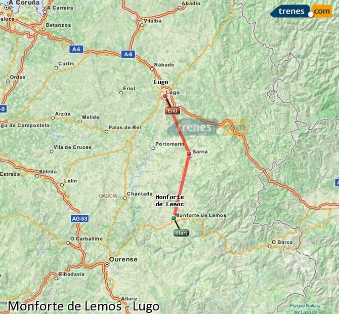 Karte vergrößern Züge Monforte de Lemos Lugo