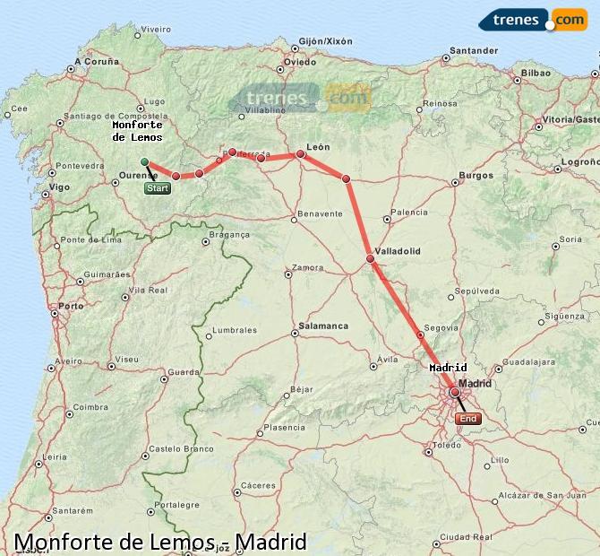 Ampliar mapa Trenes Monforte de Lemos Madrid