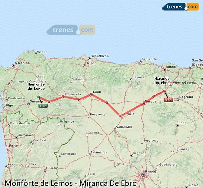 Ampliar mapa Trenes Monforte de Lemos Miranda De Ebro