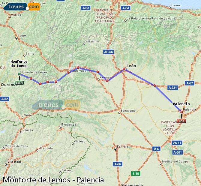 Ampliar mapa Trenes Monforte de Lemos Palencia