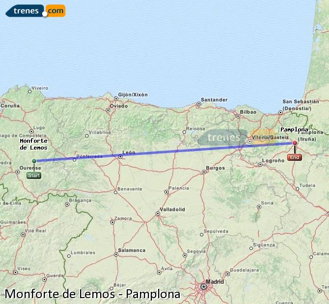 Ampliar mapa Trenes Monforte de Lemos Pamplona