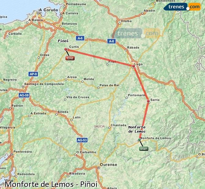 Ampliar mapa Trenes Monforte de Lemos Piñoi