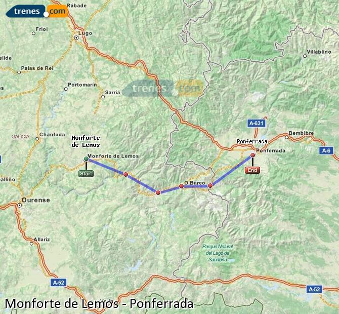 Ampliar mapa Trenes Monforte de Lemos Ponferrada