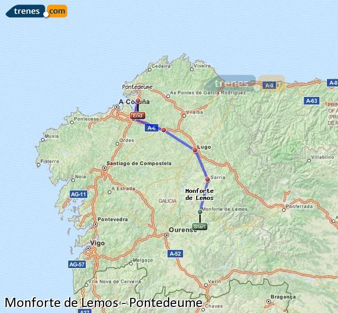 Ampliar mapa Trenes Monforte de Lemos Pontedeume