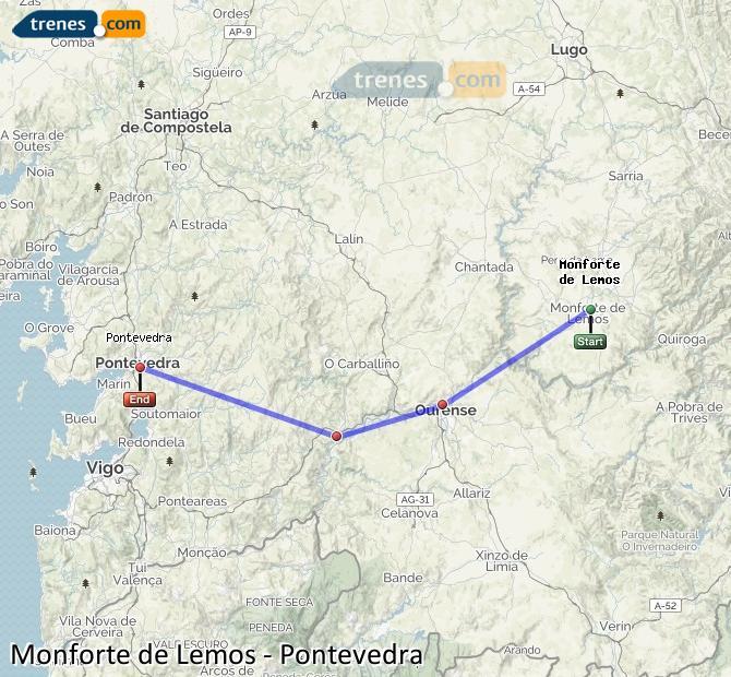 Ampliar mapa Trenes Monforte de Lemos Pontevedra