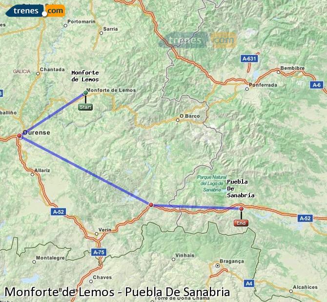 Ampliar mapa Trenes Monforte de Lemos Puebla De Sanabria