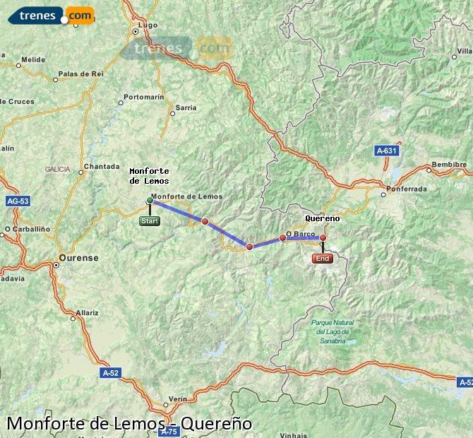 Ampliar mapa Trenes Monforte de Lemos Quereño