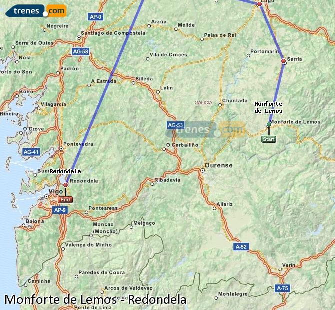 Ampliar mapa Trenes Monforte de Lemos Redondela