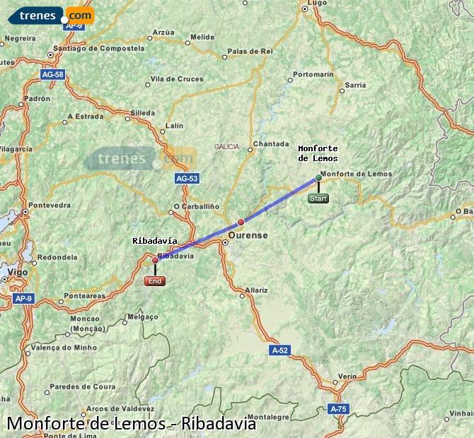 Ampliar mapa Trenes Monforte de Lemos Ribadavia