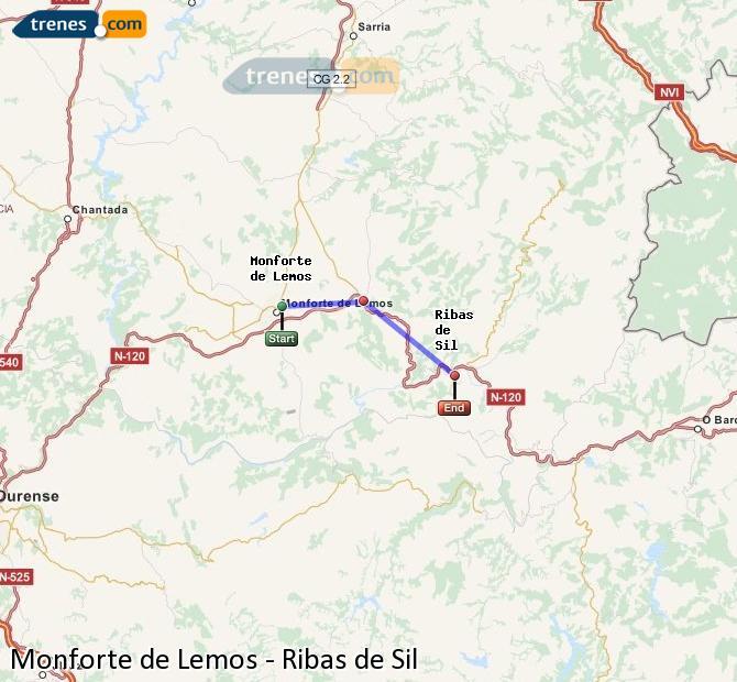 Ampliar mapa Trenes Monforte de Lemos Ribas de Sil