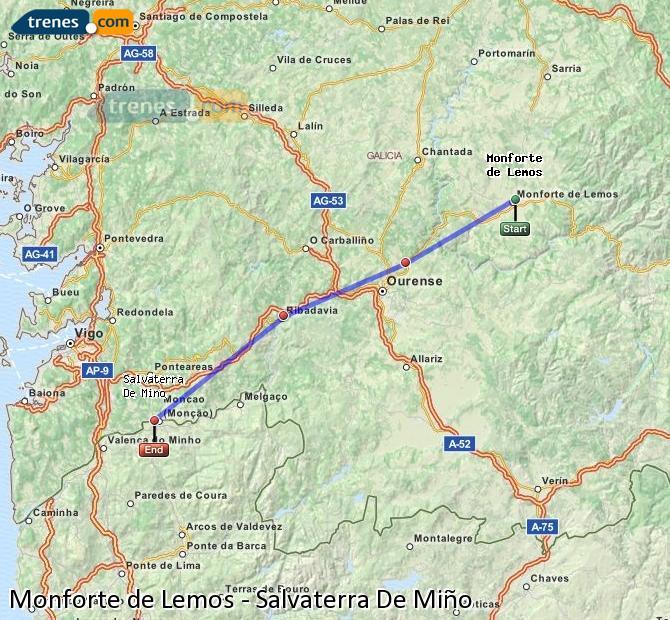 Ampliar mapa Trenes Monforte de Lemos Salvaterra De Miño