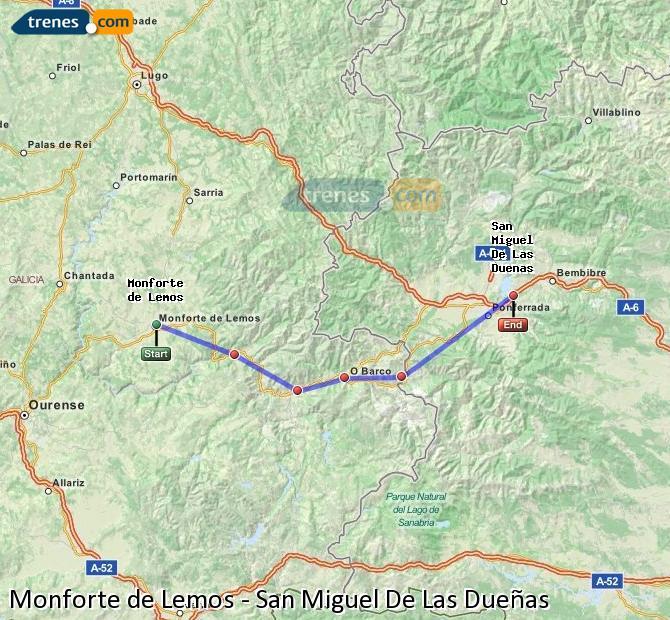 Ampliar mapa Trenes Monforte de Lemos San Miguel De Las Dueñas