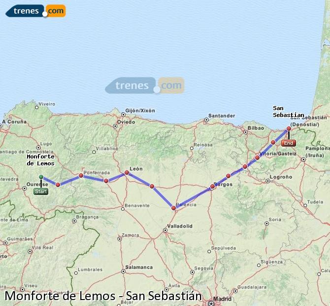 Ampliar mapa Trenes Monforte de Lemos San Sebastián
