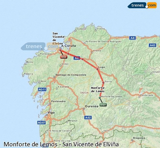 Ampliar mapa Trenes Monforte de Lemos San Vicente de Elviña