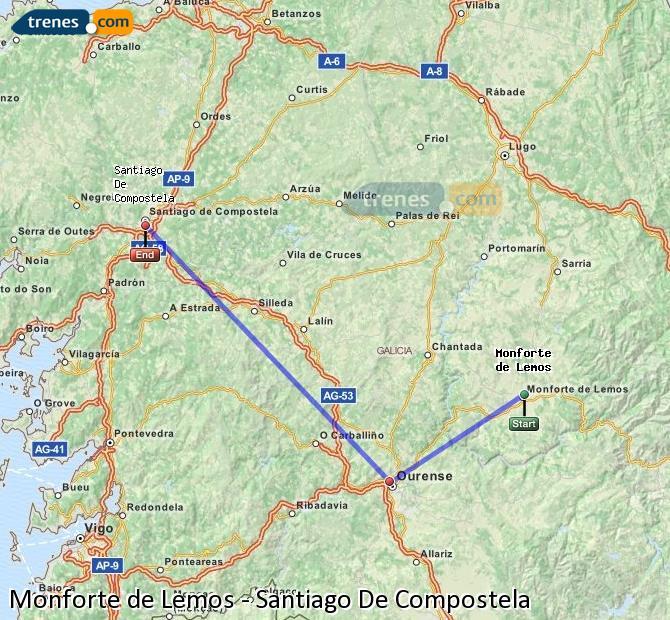 Ampliar mapa Trenes Monforte de Lemos Santiago De Compostela
