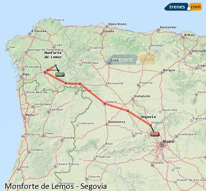 Ampliar mapa Trenes Monforte de Lemos Segovia