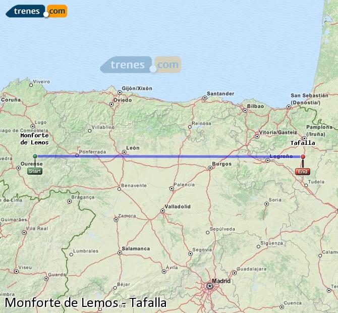Ampliar mapa Trenes Monforte de Lemos Tafalla