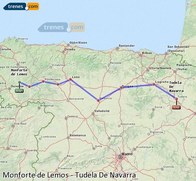 Ampliar mapa Trenes Monforte de Lemos Tudela De Navarra