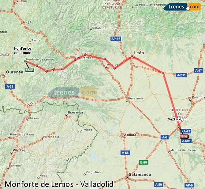 Ampliar mapa Trenes Monforte de Lemos Valladolid