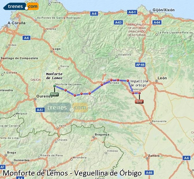Ampliar mapa Trenes Monforte de Lemos Veguellina de Órbigo