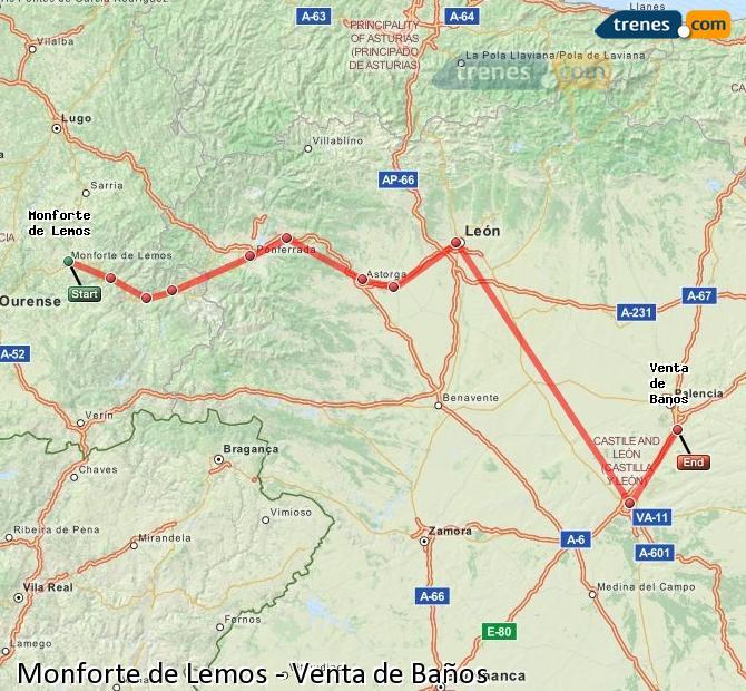Ampliar mapa Trenes Monforte de Lemos Venta de Baños