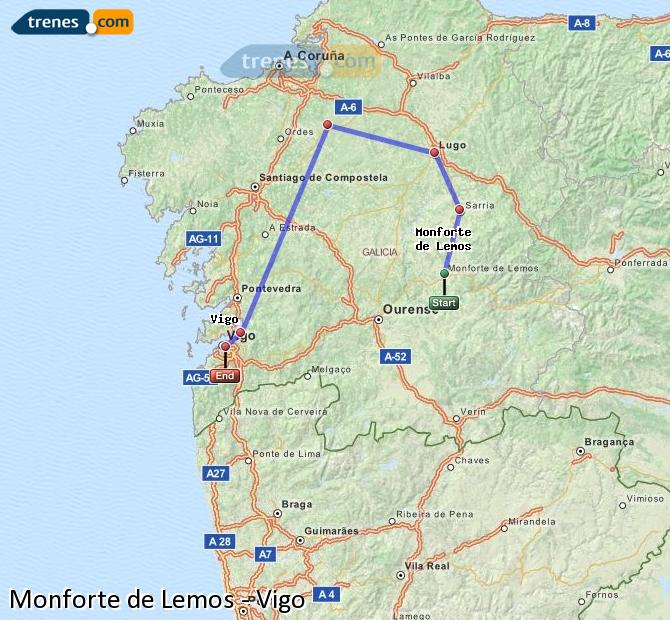 Ingrandisci la mappa Treni Monforte de Lemos Vigo